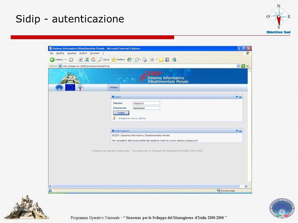 Programma Operativo Nazionale - Sicurezza per lo Sviluppo del Mezzogiorno d Italia 2000-2006 Sidip - autenticazione