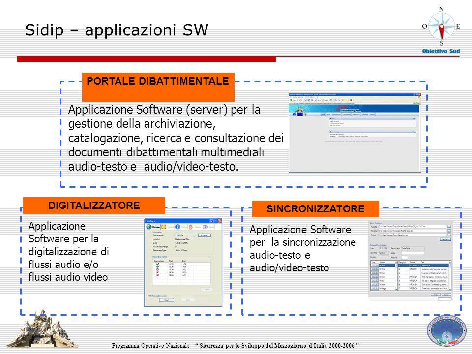 Programma Operativo Nazionale - Sicurezza per lo Sviluppo del Mezzogiorno d Italia 2000-2006 Sidip – applicazioni SW Applicazione Software per la sincronizzazione audio-testo e audio/video-testo Applicazione Software per la digitalizzazione di flussi audio e/o flussi audio video DIGITALIZZATORE SINCRONIZZATORE Applicazione Software (server) per la gestione della archiviazione, catalogazione, ricerca e consultazione dei documenti dibattimentali multimediali audio-testo e audio/video-testo.