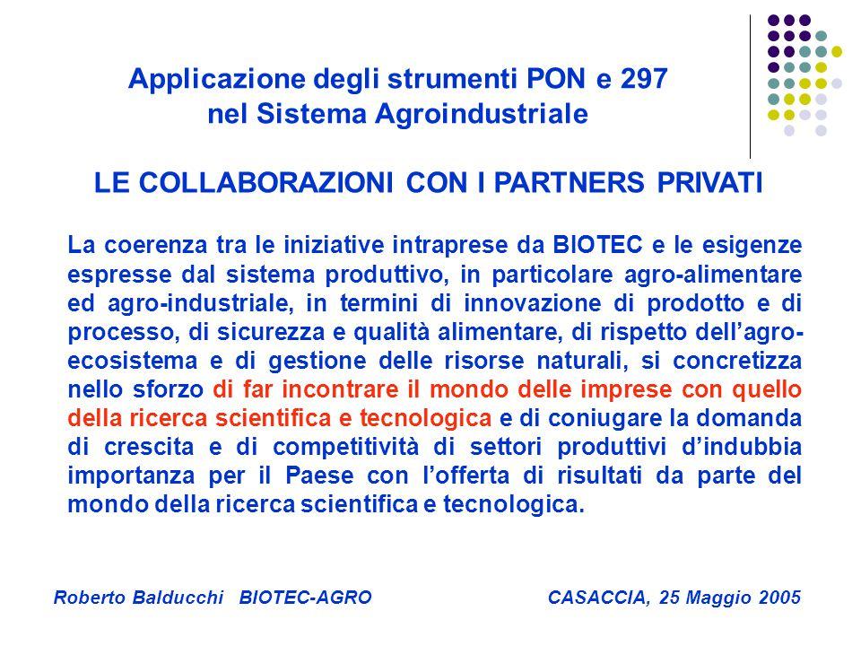 La coerenza tra le iniziative intraprese da BIOTEC e le esigenze espresse dal sistema produttivo, in particolare agro-alimentare ed agro-industriale, in termini di innovazione di prodotto e di processo, di sicurezza e qualità alimentare, di rispetto dell'agro- ecosistema e di gestione delle risorse naturali, si concretizza nello sforzo di far incontrare il mondo delle imprese con quello della ricerca scientifica e tecnologica e di coniugare la domanda di crescita e di competitività di settori produttivi d'indubbia importanza per il Paese con l'offerta di risultati da parte del mondo della ricerca scientifica e tecnologica.