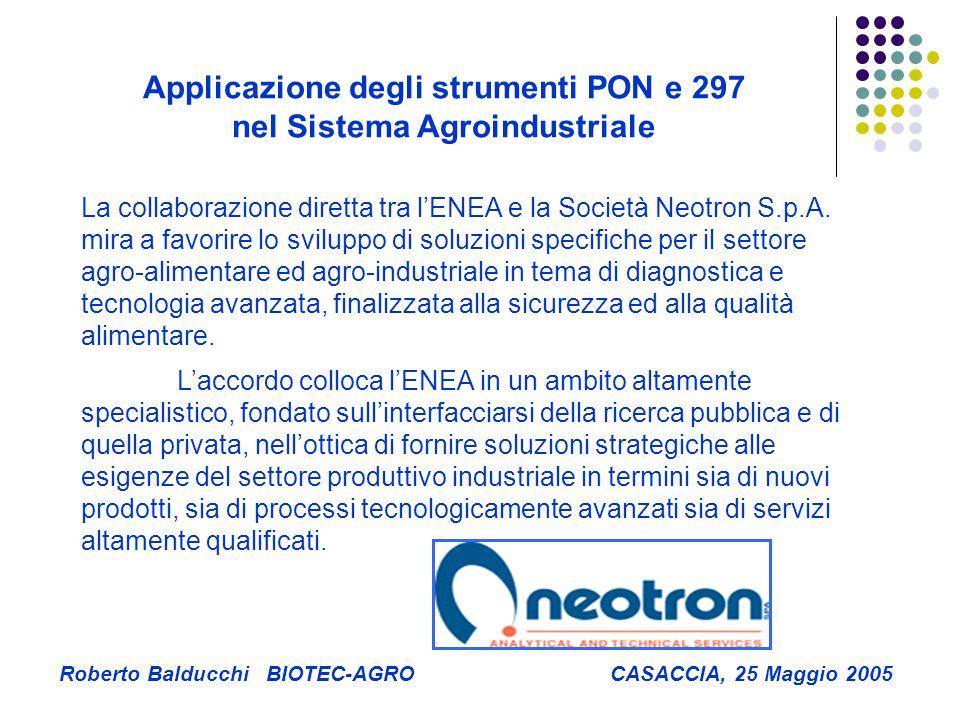 Applicazione degli strumenti PON e 297 nel Sistema Agroindustriale Roberto Balducchi BIOTEC-AGRO CASACCIA, 25 Maggio 2005 La collaborazione diretta tra l'ENEA e la Società Neotron S.p.A.