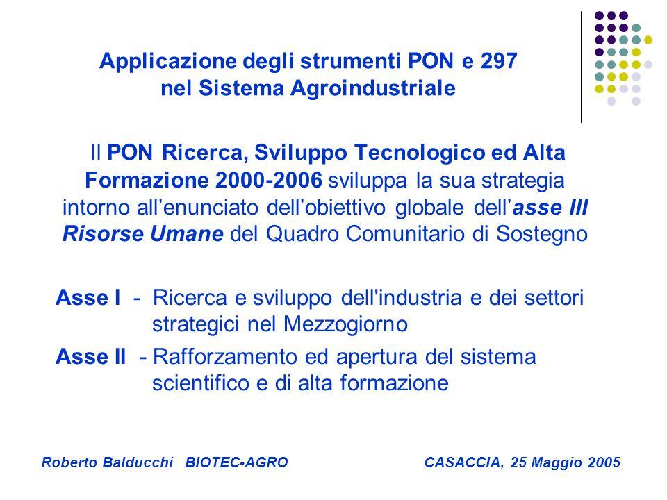 Applicazione degli strumenti PON e 297 nel Sistema Agroindustriale Roberto Balducchi BIOTEC-AGRO CASACCIA, 25 Maggio 2005 Il PON Ricerca, Sviluppo Tecnologico ed Alta Formazione 2000-2006 sviluppa la sua strategia intorno all'enunciato dell'obiettivo globale dell'asse III Risorse Umane del Quadro Comunitario di Sostegno Asse I - Ricerca e sviluppo dell industria e dei settori strategici nel Mezzogiorno Asse II - Rafforzamento ed apertura del sistema scientifico e di alta formazione