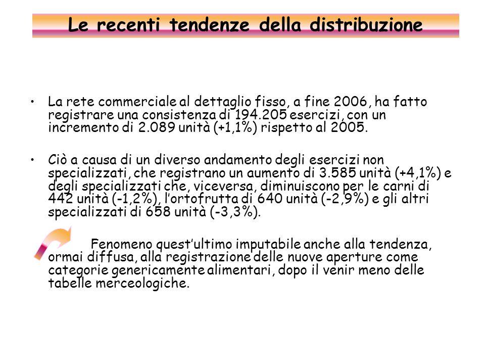 La rete commerciale al dettaglio fisso, a fine 2006, ha fatto registrare una consistenza di 194.205 esercizi, con un incremento di 2.089 unità (+1,1%) rispetto al 2005.
