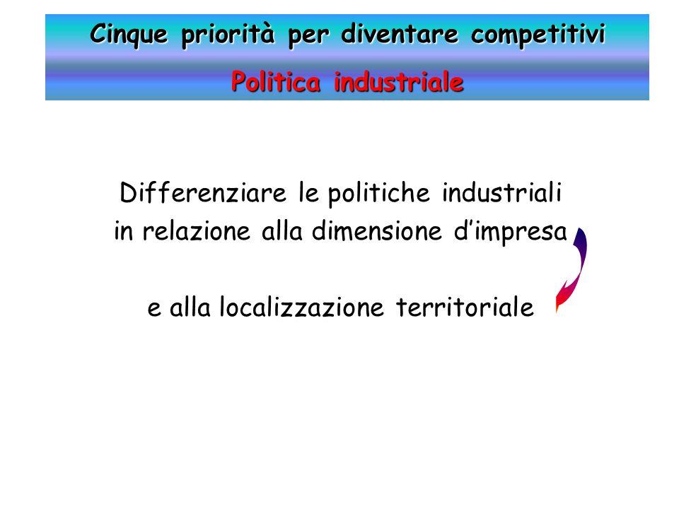 Differenziare le politiche industriali in relazione alla dimensione d'impresa e alla localizzazione territoriale Cinque priorità per diventare competitivi Politica industriale