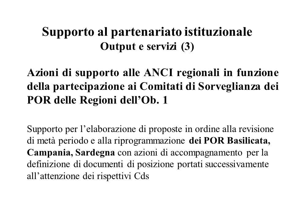 Supporto al partenariato istituzionale Output e servizi (3) Azioni di supporto alle ANCI regionali in funzione della partecipazione ai Comitati di Sorveglianza dei POR delle Regioni dell'Ob.