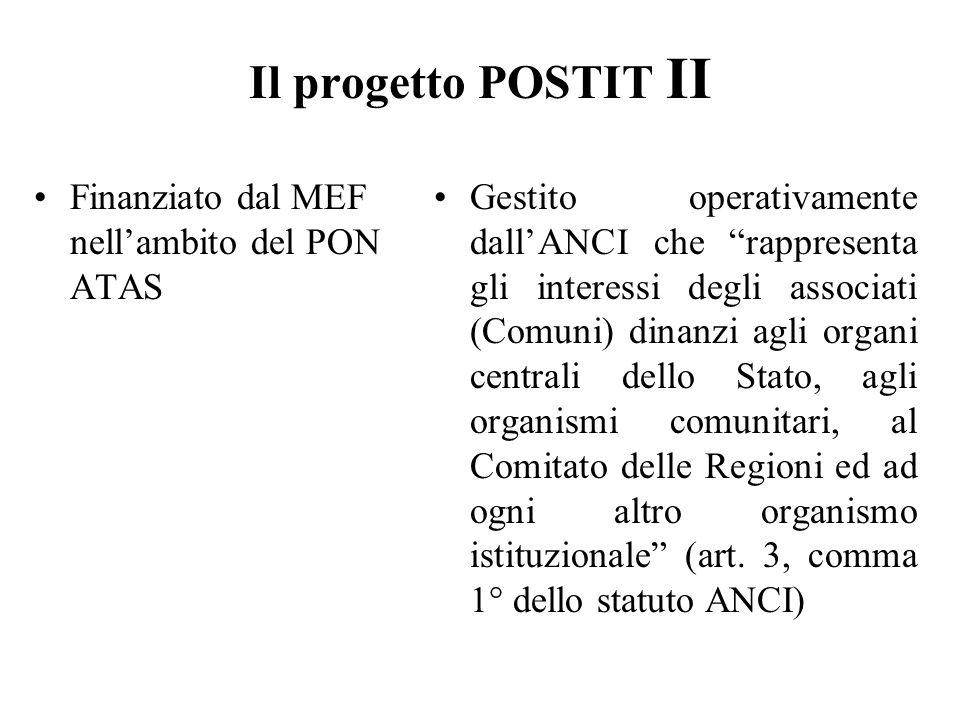 Il progetto POSTIT II Finanziato dal MEF nell'ambito del PON ATAS Gestito operativamente dall'ANCI che rappresenta gli interessi degli associati (Comuni) dinanzi agli organi centrali dello Stato, agli organismi comunitari, al Comitato delle Regioni ed ad ogni altro organismo istituzionale (art.