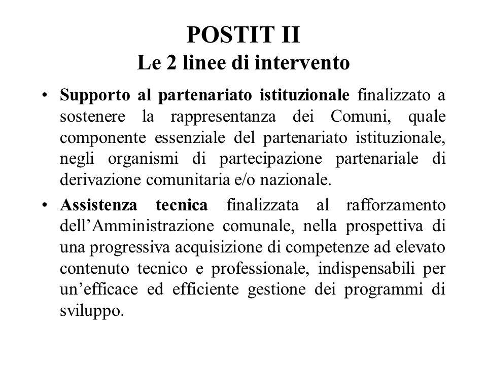 POSTIT II Le 2 linee di intervento Supporto al partenariato istituzionale finalizzato a sostenere la rappresentanza dei Comuni, quale componente essenziale del partenariato istituzionale, negli organismi di partecipazione partenariale di derivazione comunitaria e/o nazionale.