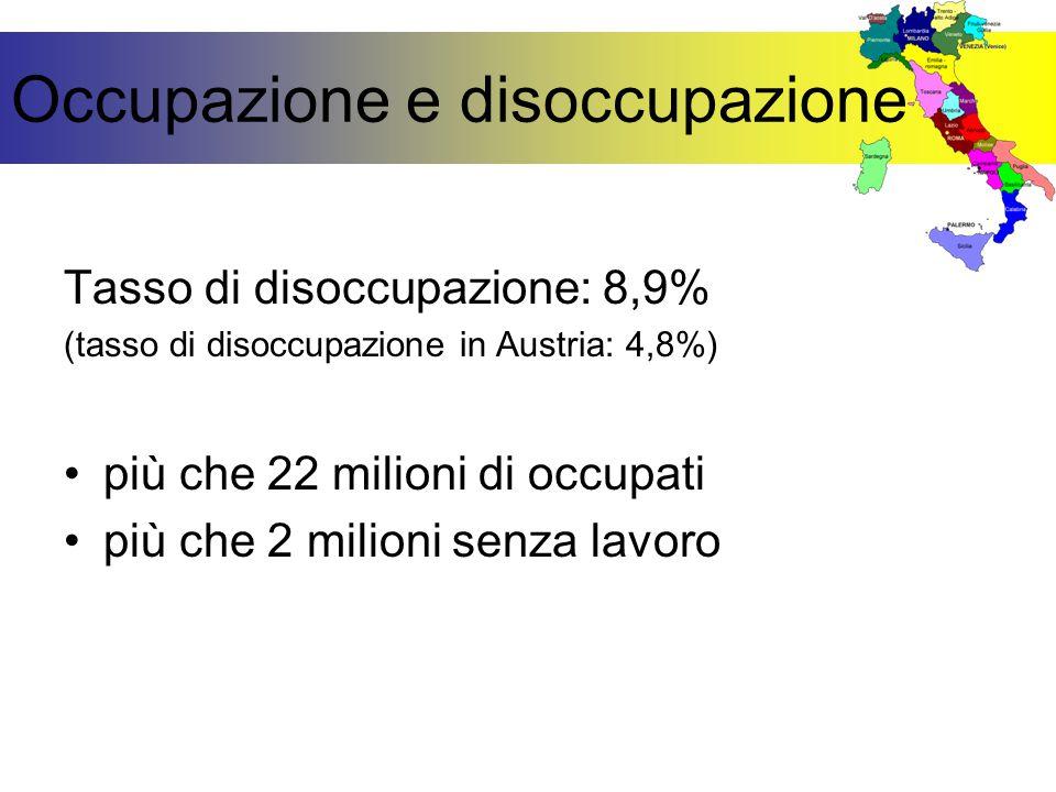Occupazione e disoccupazione Tasso di disoccupazione: 8,9% (tasso di disoccupazione in Austria: 4,8%) più che 22 milioni di occupati più che 2 milioni