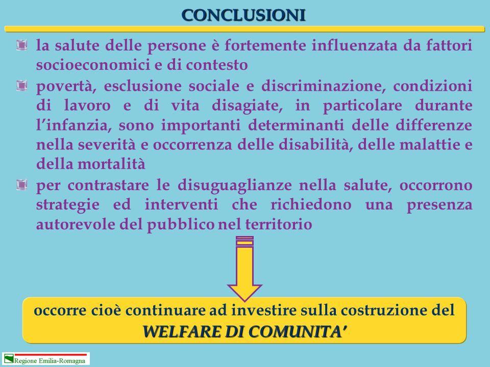 CONCLUSIONI la salute delle persone è fortemente influenzata da fattori socioeconomici e di contesto povertà, esclusione sociale e discriminazione, co