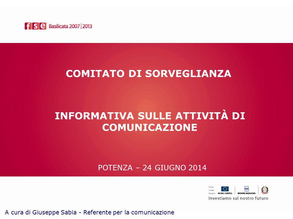 COMITATO DI SORVEGLIANZA POTENZA – 24 GIUGNO 2014 INFORMATIVA SULLE ATTIVITÀ DI COMUNICAZIONE A cura di Giuseppe Sabia - Referente per la comunicazione