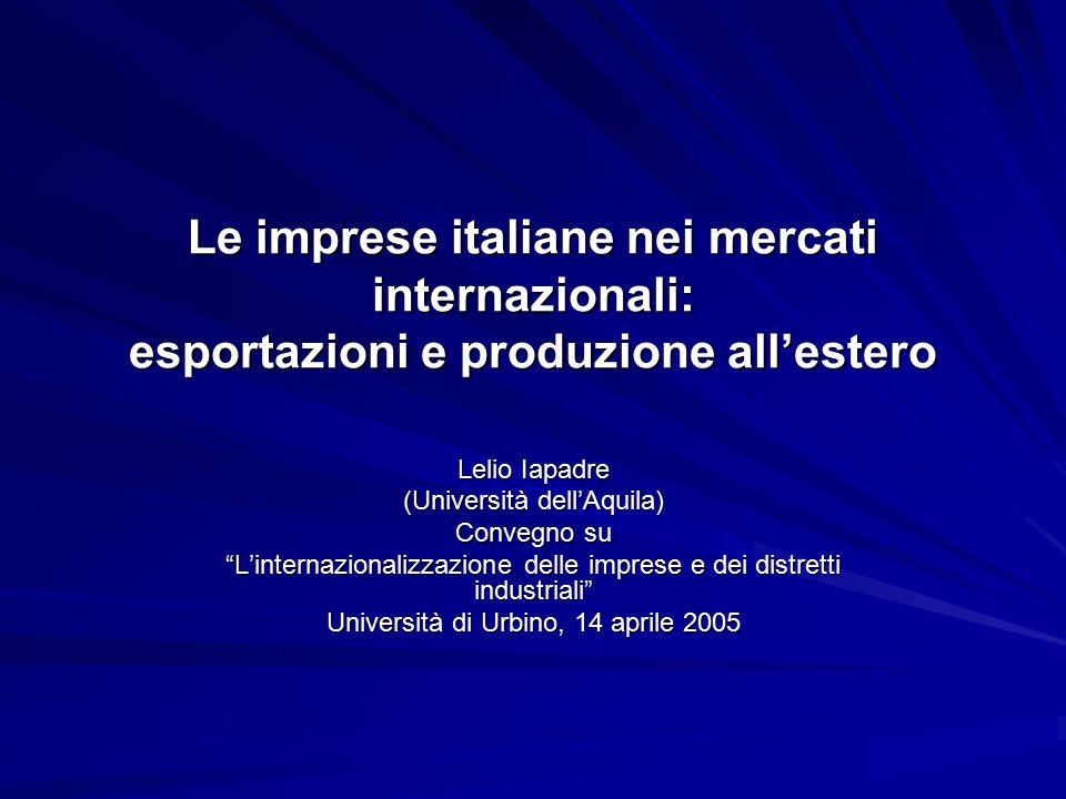 """Le imprese italiane nei mercati internazionali: esportazioni e produzione all'estero Lelio Iapadre (Università dell'Aquila) Convegno su """"L'internazion"""