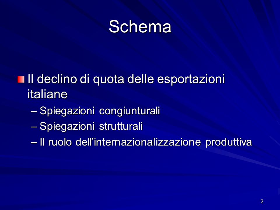 2 Schema Il declino di quota delle esportazioni italiane –Spiegazioni congiunturali –Spiegazioni strutturali –Il ruolo dell'internazionalizzazione pro