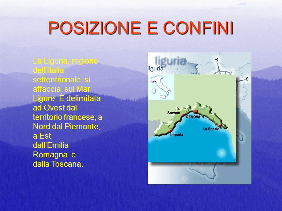 POSIZIONE E CONFINI La Liguria, regione dell'Italia settentrionale, si affaccia sul Mar Ligure. È delimitata ad Ovest dal territorio francese, a Nord