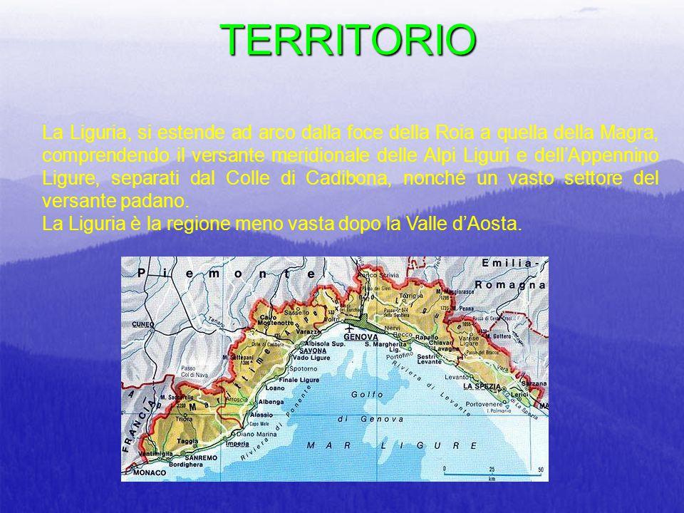TERRITORIO La Liguria, si estende ad arco dalla foce della Roia a quella della Magra, comprendendo il versante meridionale delle Alpi Liguri e dell'Ap