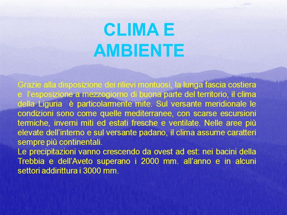 Grazie alla disposizione dei rilievi montuosi, la lunga fascia costiera e l'esposizione a mezzogiorno di buona parte del territorio, il clima della Li