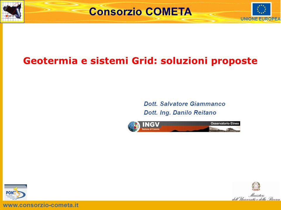 www.consorzio-cometa.it Consorzio COMETA UNIONE EUROPEA Dott. Salvatore Giammanco Dott. Ing. Danilo Reitano Geotermia e sistemi Grid: soluzioni propos