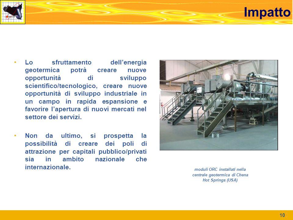 Impatto Lo sfruttamento dell'energia geotermica potrà creare nuove opportunità di sviluppo scientifico/tecnologico, creare nuove opportunità di sviluppo industriale in un campo in rapida espansione e favorire l'apertura di nuovi mercati nel settore dei servizi.