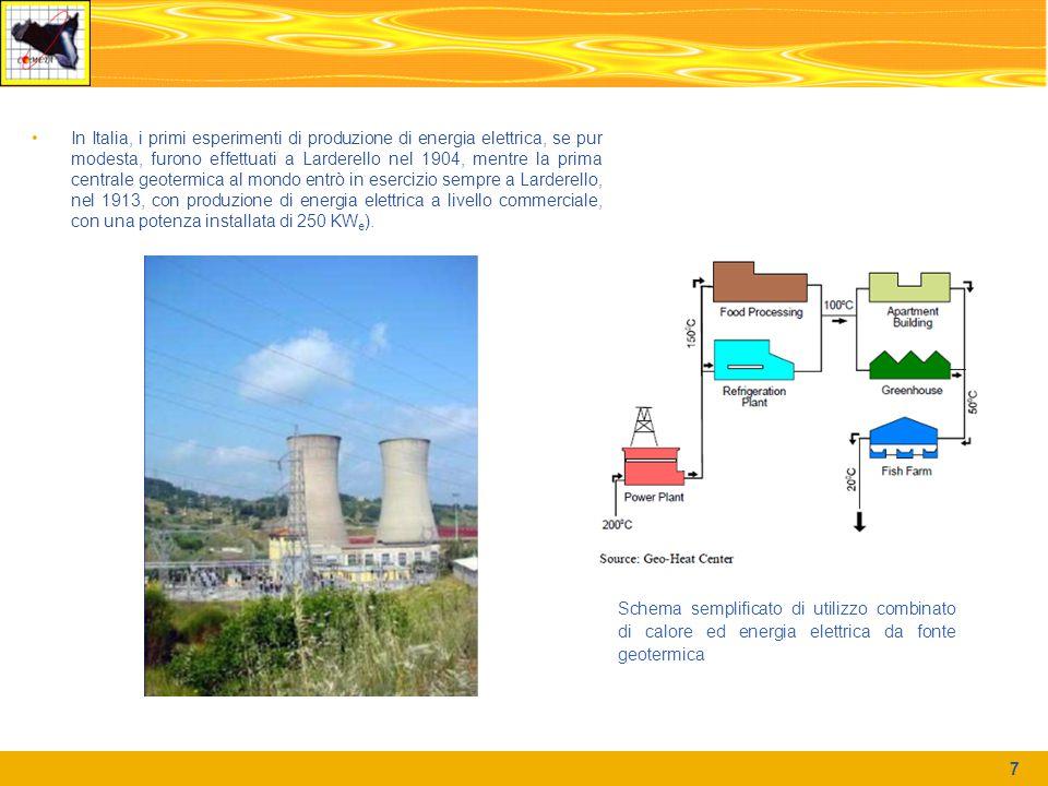 In Italia, i primi esperimenti di produzione di energia elettrica, se pur modesta, furono effettuati a Larderello nel 1904, mentre la prima centrale geotermica al mondo entrò in esercizio sempre a Larderello, nel 1913, con produzione di energia elettrica a livello commerciale, con una potenza installata di 250 KW e ).