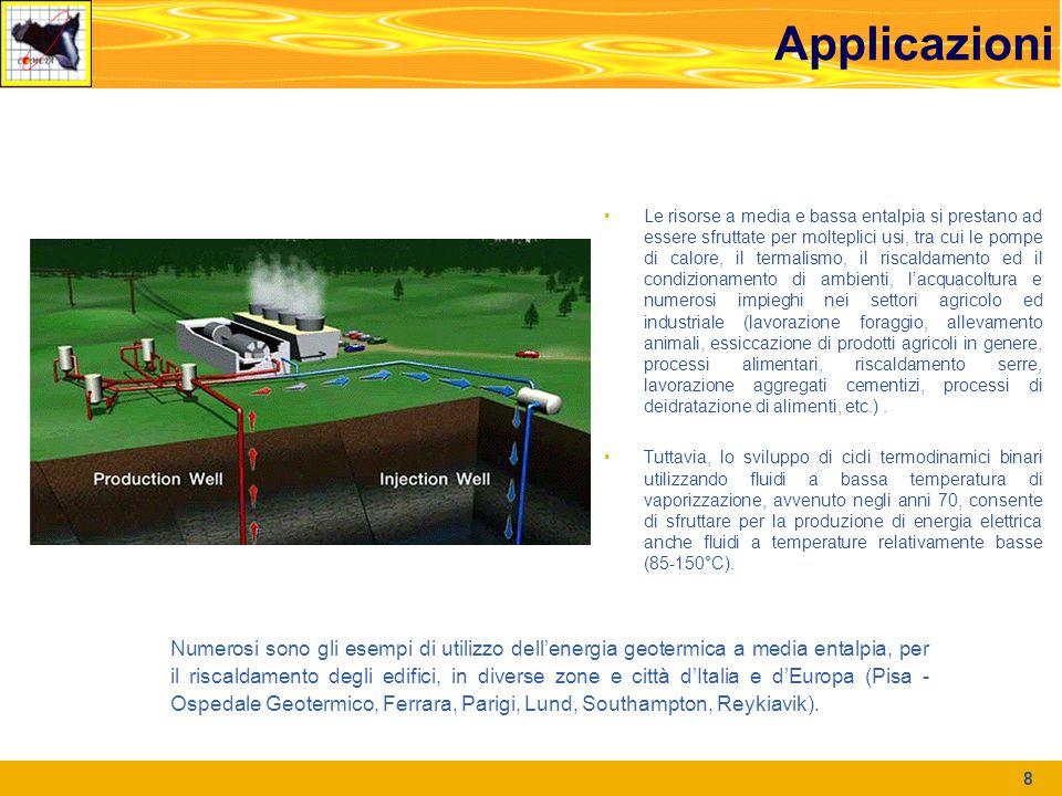 Applicazioni 8 Le risorse a media e bassa entalpia si prestano ad essere sfruttate per molteplici usi, tra cui le pompe di calore, il termalismo, il r