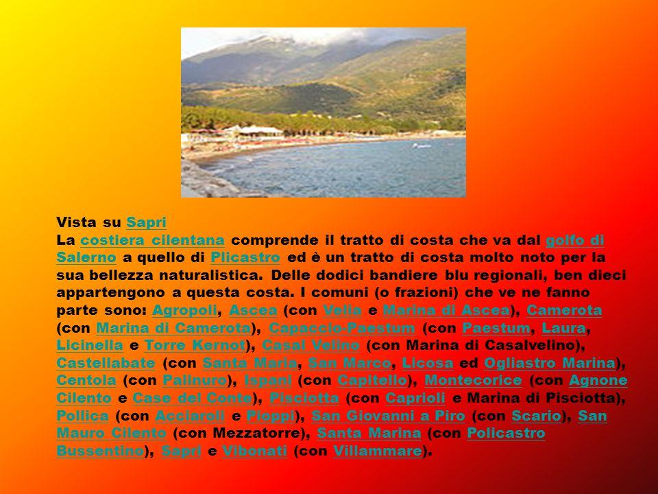 Vista su SapriSapri La costiera cilentana comprende il tratto di costa che va dal golfo di Salerno a quello di Plicastro ed è un tratto di costa molto