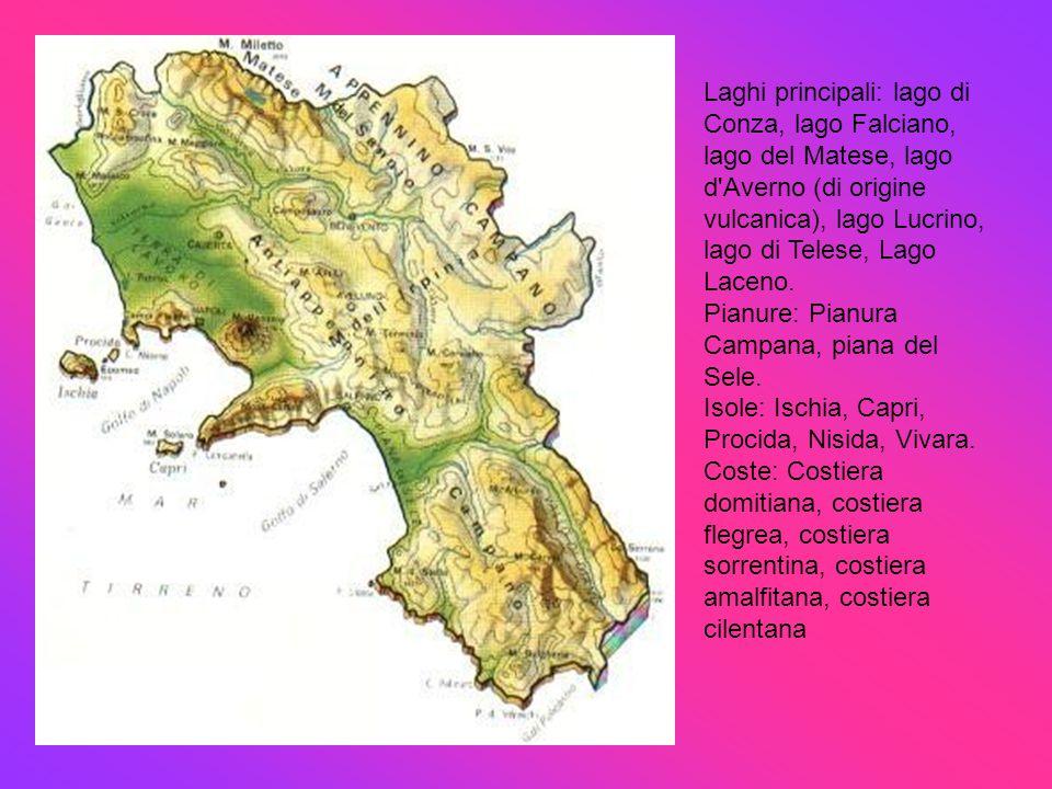 Laghi principali: lago di Conza, lago Falciano, lago del Matese, lago d'Averno (di origine vulcanica), lago Lucrino, lago di Telese, Lago Laceno. Pian