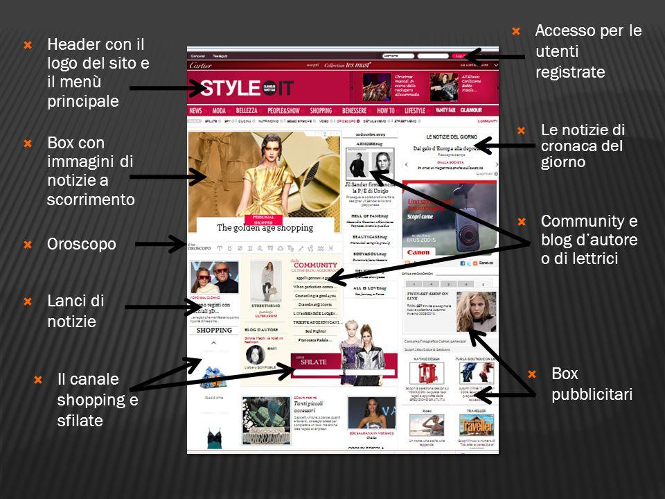  Header con il logo del sito e il menù principale  Box con immagini di notizie a scorrimento  Lanci di notizie  Il canale shopping e sfilate  Acc