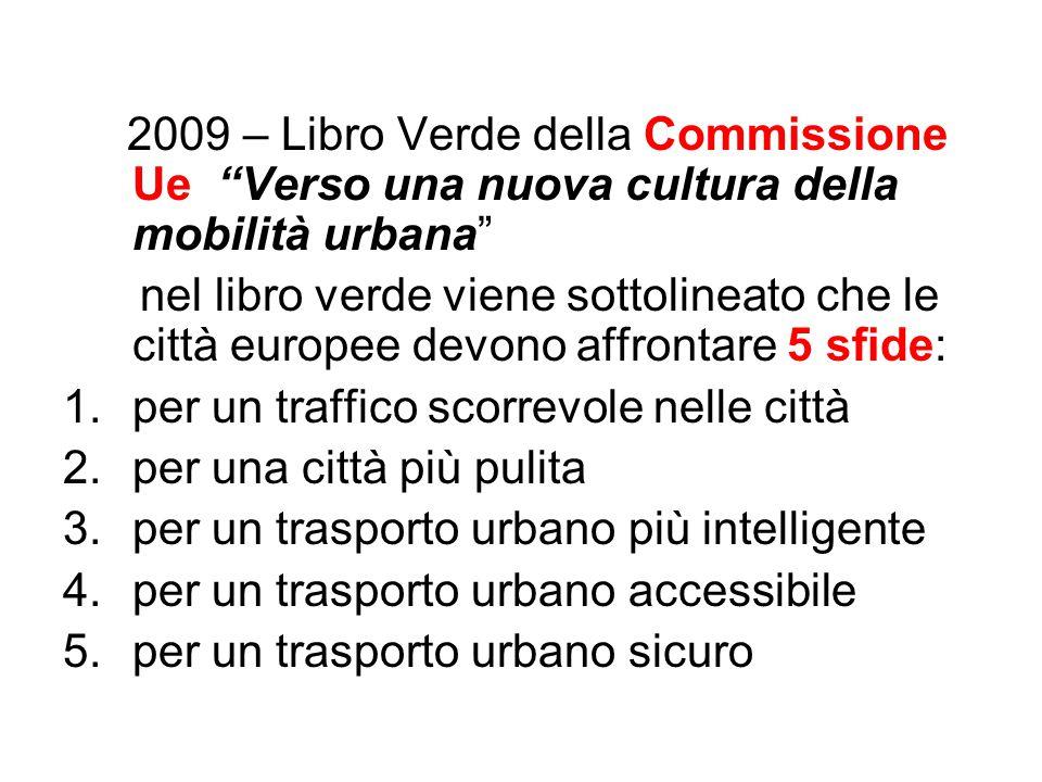 """2009 – Libro Verde della Commissione Ue """"Verso una nuova cultura della mobilità urbana"""" nel libro verde viene sottolineato che le città europee devono"""