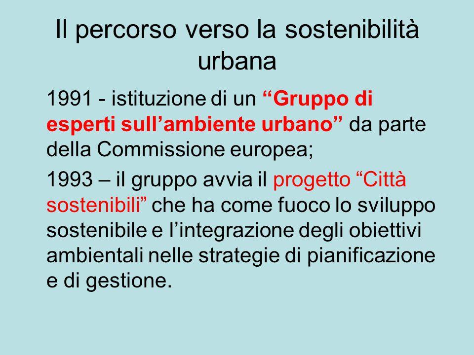 """Il percorso verso la sostenibilità urbana 1991 - istituzione di un """"Gruppo di esperti sull'ambiente urbano"""" da parte della Commissione europea; 1993 –"""