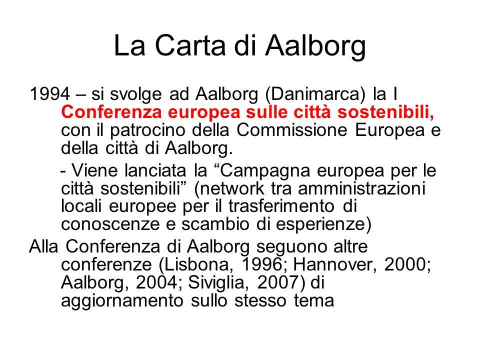 La Carta di Aalborg 1994 – si svolge ad Aalborg (Danimarca) la I Conferenza europea sulle città sostenibili, con il patrocino della Commissione Europe