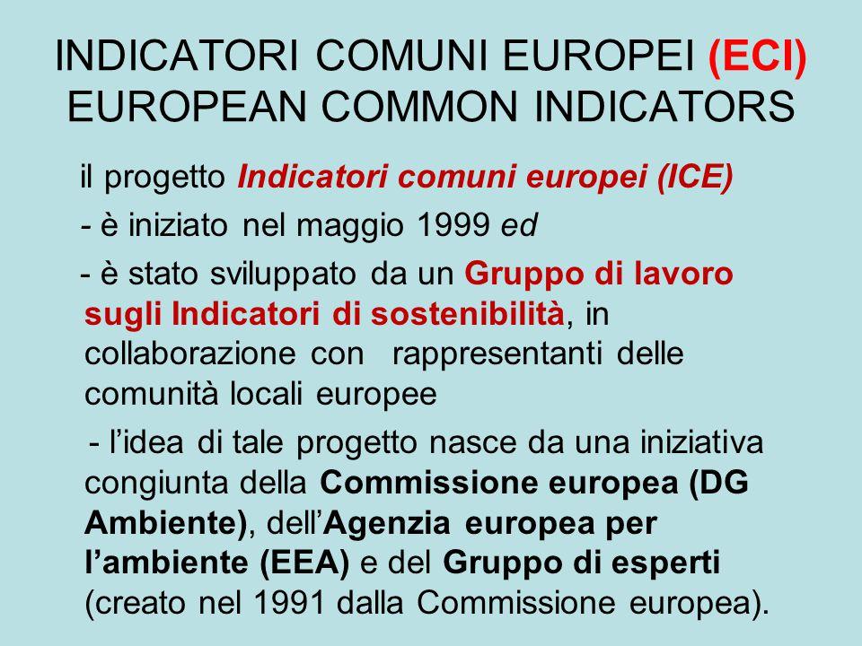 INDICATORI COMUNI EUROPEI (ECI) EUROPEAN COMMON INDICATORS il progetto Indicatori comuni europei (ICE) - è iniziato nel maggio 1999 ed - è stato svilu