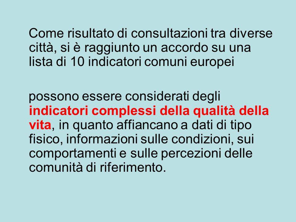 Come risultato di consultazioni tra diverse città, si è raggiunto un accordo su una lista di 10 indicatori comuni europei possono essere considerati d