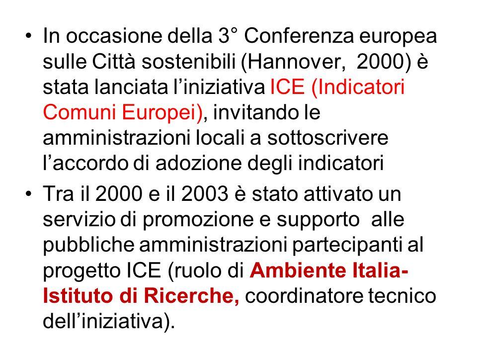 In occasione della 3° Conferenza europea sulle Città sostenibili (Hannover, 2000) è stata lanciata l'iniziativa ICE (Indicatori Comuni Europei), invit