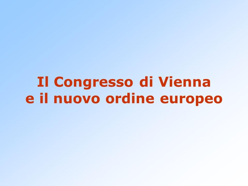Il Congresso di Vienna Tra 1814 e 1815 le potenze vincitrici discutono sull'assetto da dare all'Europa dopo la bufera napoleonica.