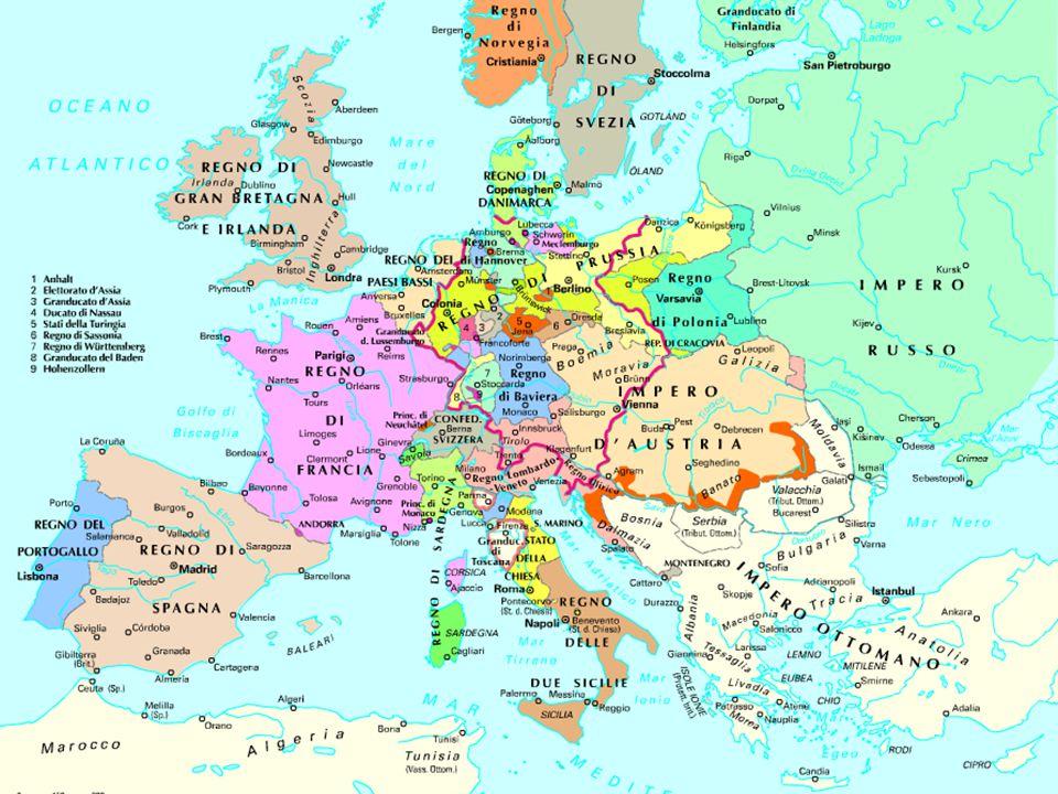 L'Italia del 1815 Domina l'Austria  direttamente (Regno Lombardo-Veneto)  o indirettamente (dinastie asburgiche in Toscana, a Parma e a Modena).