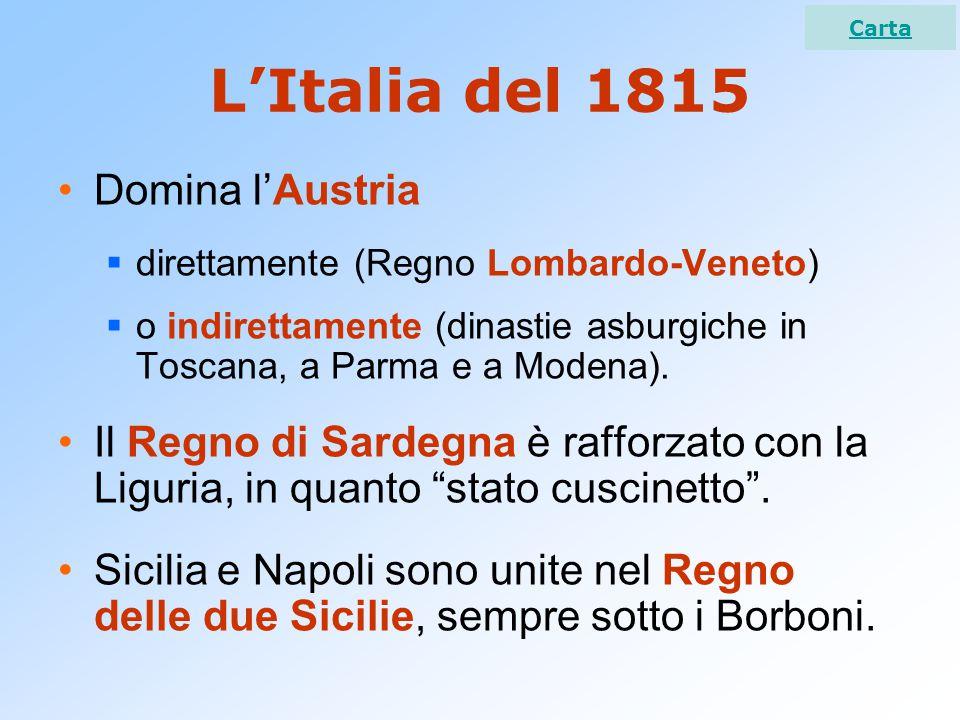 L'Italia del 1815 Domina l'Austria  direttamente (Regno Lombardo-Veneto)  o indirettamente (dinastie asburgiche in Toscana, a Parma e a Modena). Il