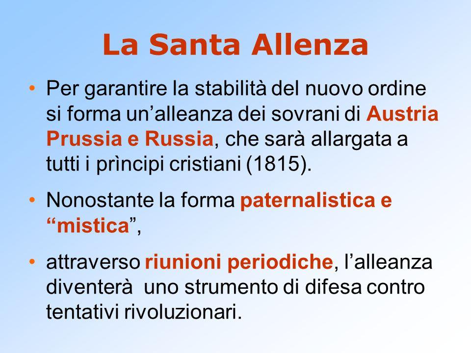 La Santa Allenza Per garantire la stabilità del nuovo ordine si forma un'alleanza dei sovrani di Austria Prussia e Russia, che sarà allargata a tutti