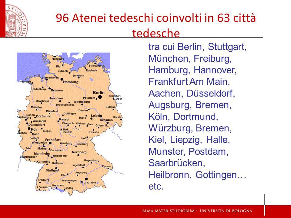 96 Atenei tedeschi coinvolti in 63 città tedesche tra cui Berlin, Stuttgart, München, Freiburg, Hamburg, Hannover, Frankfurt Am Main, Aachen, Düsseldorf, Augsburg, Bremen, Köln, Dortmund, Würzburg, Bremen, Kiel, Liepzig, Halle, Munster, Postdam, Saarbrücken, Heilbronn, Gottingen… etc.