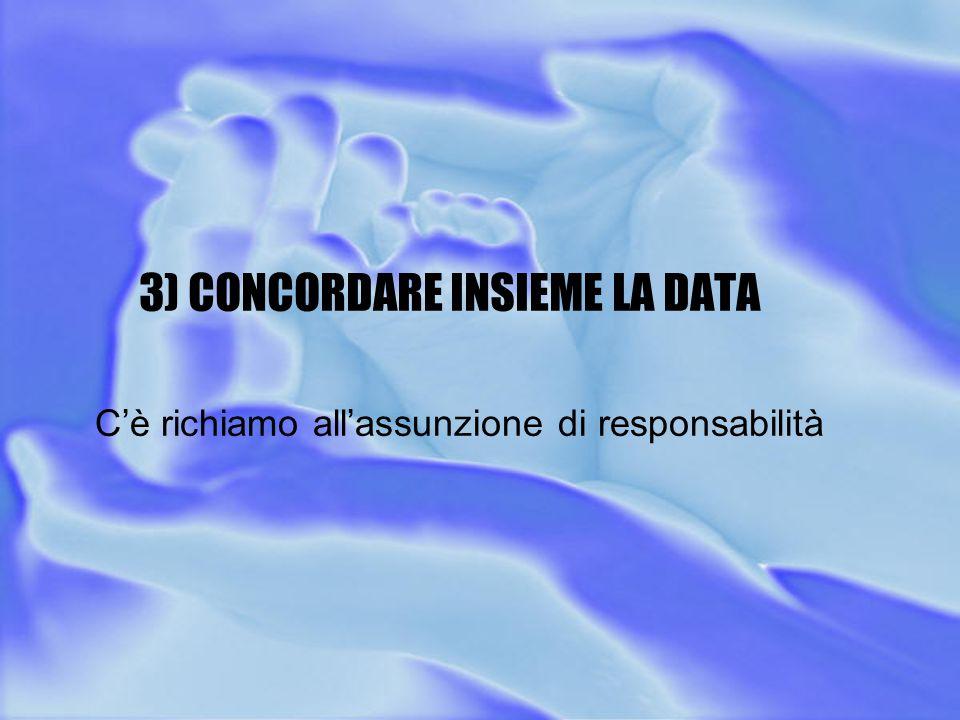 3) CONCORDARE INSIEME LA DATA C'è richiamo all'assunzione di responsabilità