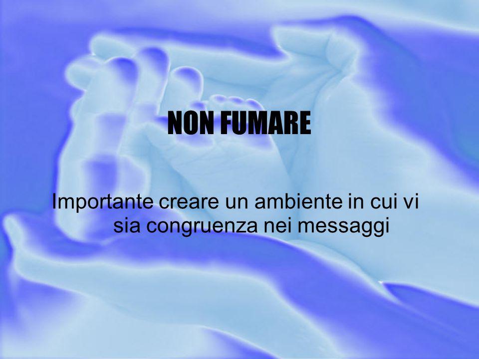 NON FUMARE Importante creare un ambiente in cui vi sia congruenza nei messaggi