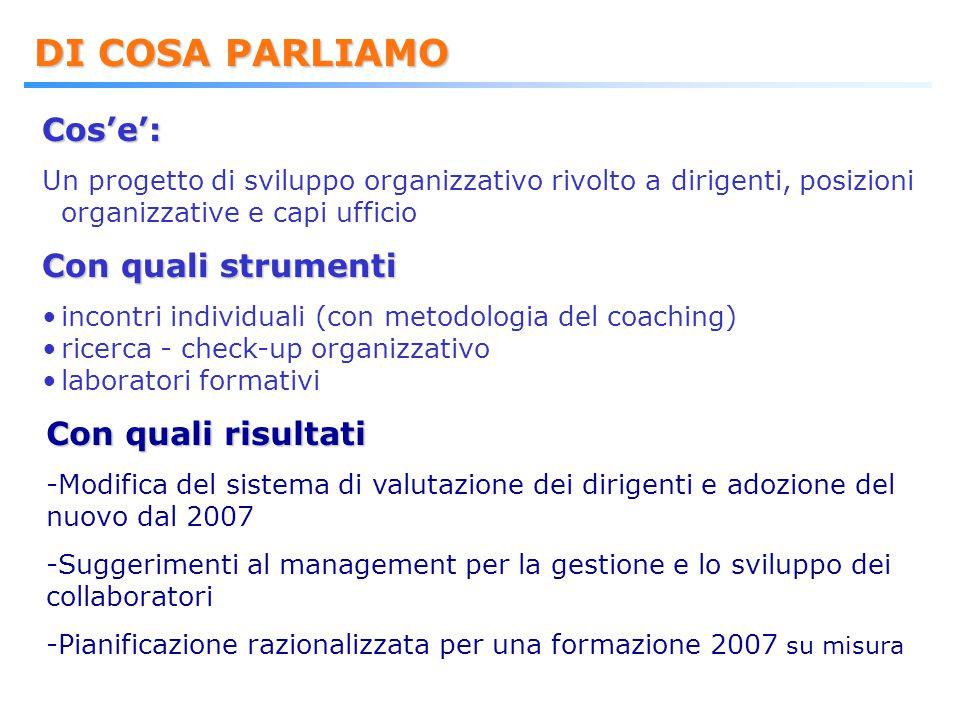DI COSA PARLIAMO Cos'e': Un progetto di sviluppo organizzativo rivolto a dirigenti, posizioni organizzative e capi ufficio Con quali strumenti incontr