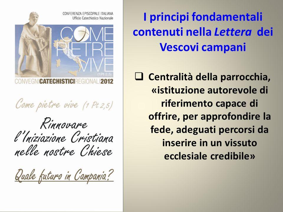 I principi fondamentali contenuti nella Lettera dei Vescovi campani  Centralità della parrocchia, «istituzione autorevole di riferimento capace di offrire, per approfondire la fede, adeguati percorsi da inserire in un vissuto ecclesiale credibile»