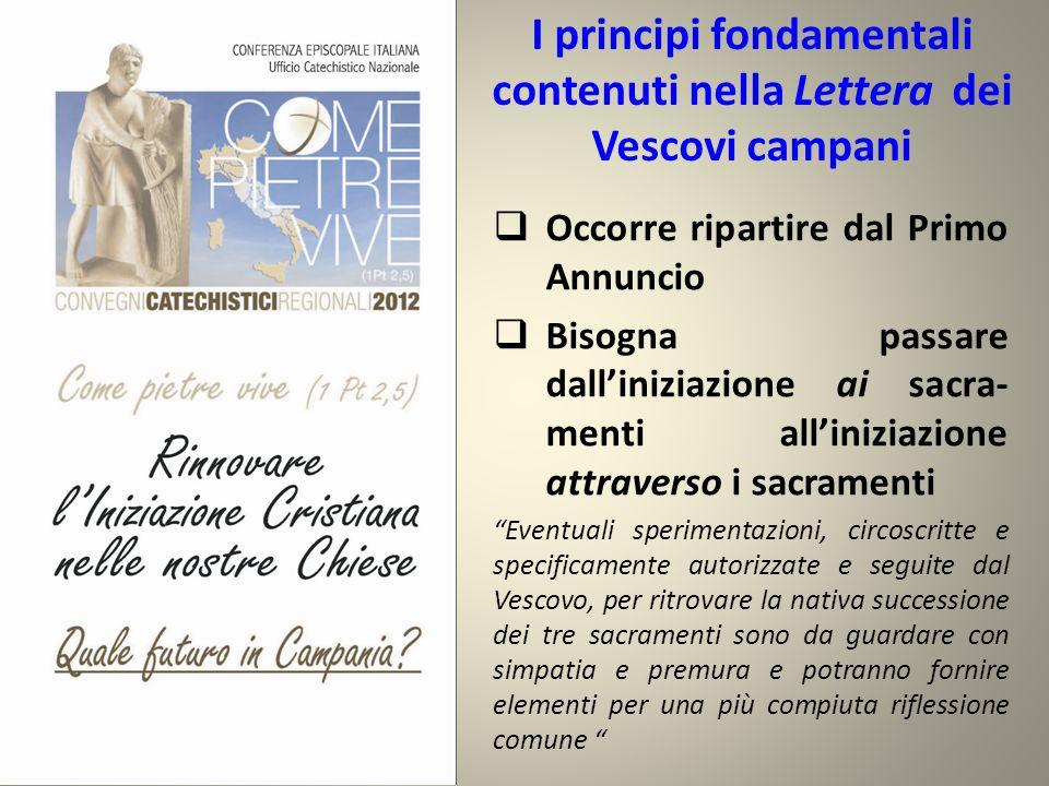 I principi fondamentali contenuti nella Lettera dei Vescovi campani  Occorre ripartire dal Primo Annuncio  Bisogna passare dall'iniziazione ai sacra