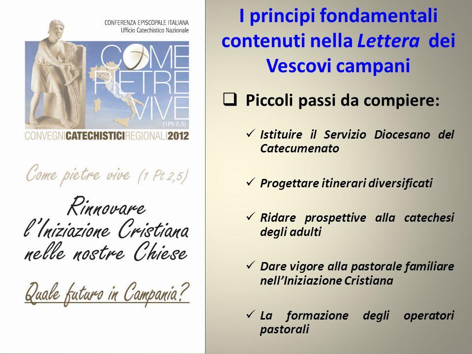 I principi fondamentali contenuti nella Lettera dei Vescovi campani  Piccoli passi da compiere: Istituire il Servizio Diocesano del Catecumenato Prog