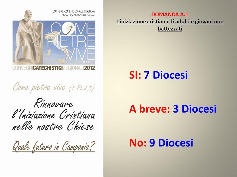 DOMANDA A.1 L'iniziazione cristiana di adulti e giovani non battezzati SI: 7 Diocesi A breve: 3 Diocesi No: 9 Diocesi