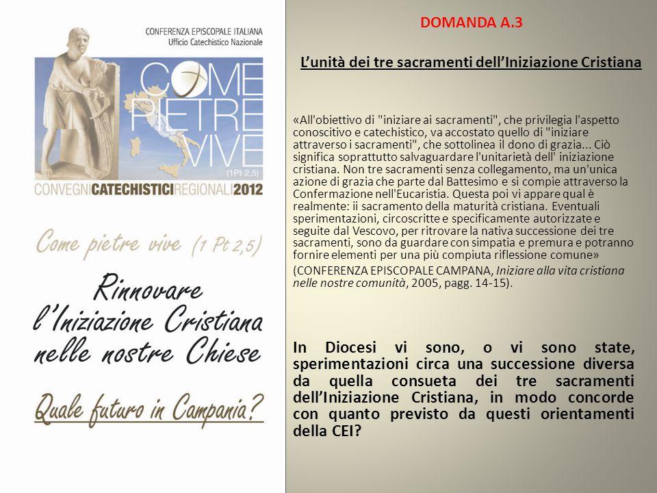 DOMANDA A.3 L'unità dei tre sacramenti dell'Iniziazione Cristiana «All'obiettivo di