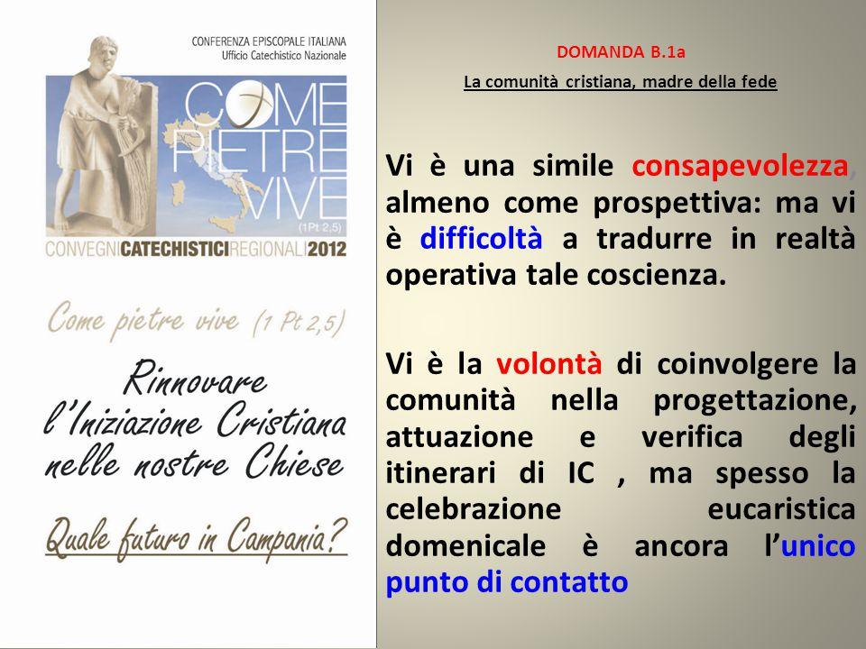 DOMANDA B.1a La comunità cristiana, madre della fede Vi è una simile consapevolezza, almeno come prospettiva: ma vi è difficoltà a tradurre in realtà