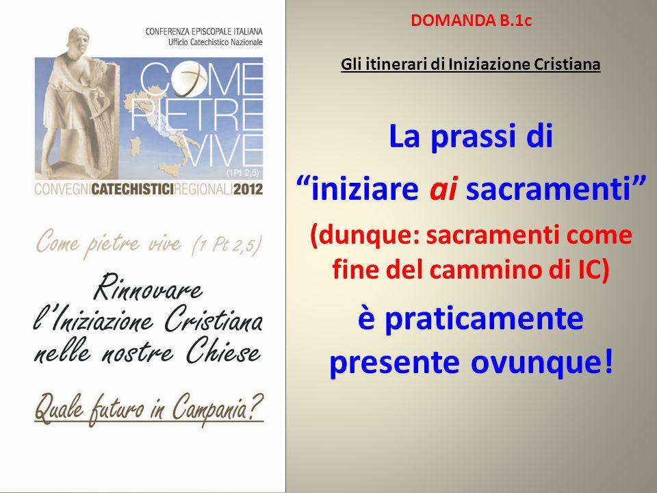 """DOMANDA B.1c Gli itinerari di Iniziazione Cristiana La prassi di """"iniziare ai sacramenti"""" (dunque: sacramenti come fine del cammino di IC) è praticame"""