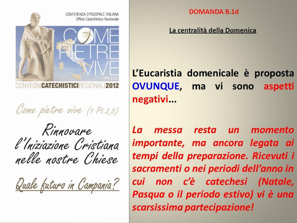 DOMANDA B.1d La centralità della Domenica L'Eucaristia domenicale è proposta OVUNQUE, ma vi sono aspetti negativi... La messa resta un momento importa