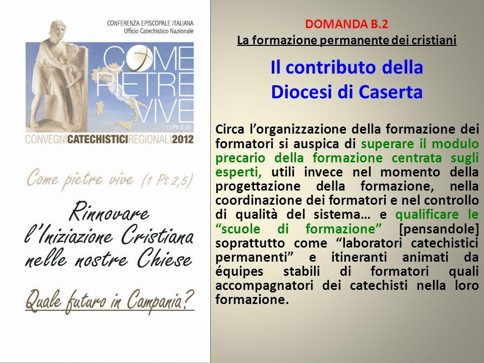 DOMANDA B.2 La formazione permanente dei cristiani Il contributo della Diocesi di Caserta Circa l'organizzazione della formazione dei formatori si aus