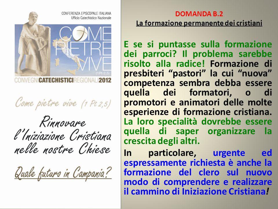 DOMANDA B.2 La formazione permanente dei cristiani E se si puntasse sulla formazione dei parroci? Il problema sarebbe risolto alla radice! Formazione