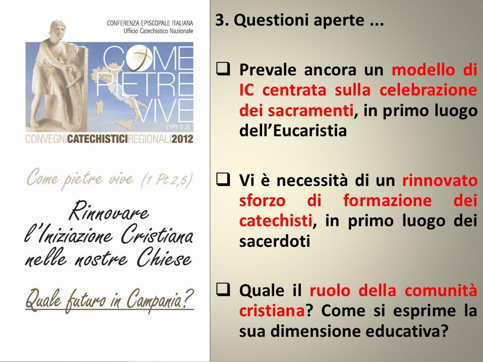 3. Questioni aperte...  Prevale ancora un modello di IC centrata sulla celebrazione dei sacramenti, in primo luogo dell'Eucaristia  Vi è necessità d
